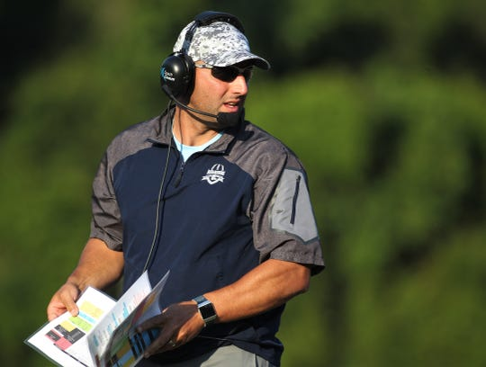 Maclay head coach Lance Ramer looks to his sideline as the Marauders beat Cedar Creek Christian during a spring football game on May 16, 2019.