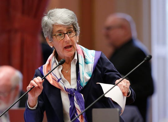 State Sen. Hannah-Beth Jackson, D-Santa Barbara, addresses the Senate on Thursday in Sacramento. The Senate Appropriations Committee failed to advance Jackson's bill to expand the state's new data privacy law and allow consumers to take companies to court over violations.