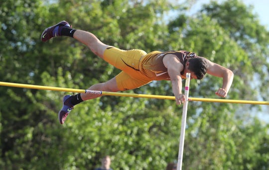 Clarkstown South's Tommy Qualter clears the bar when competing in the pole vault during the first day of the Rockland County Track & Field Championships at Tappan Zee High May 16, 2019