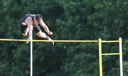 Nanuet's Chris Filatov clears the bar when competing in the pole vault during the first day of the Rockland County Track & Field Championships at Tappan Zee High May 16, 2019