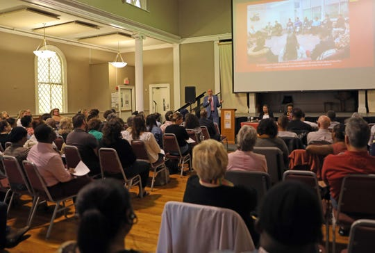 "Nyack Superintendent Dr. James Montesano talks during community forum discussing ""Envisioning Racial Equity"" at the Nyack Center on May 15, 2019, to address America's staggering numbers of segregated classes and schools."