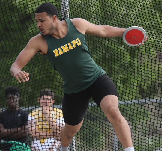 Ramapo's Anthony Harrison competes in the discus during the first day of the Rockland County Track & Field Championships at Tappan Zee High May 16, 2019