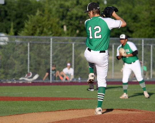Iowa Park's Kaleb Gafford pitches against Decatur in Gm 2 Thursday, May 16, 2019, in Bowie. The Hawks defeated the Eagles 3-2 in Gm 2 and 6-2 in Gm 1 to sweep the series and move on to the Region I-4A semifinals.