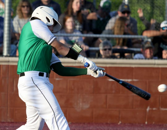 Iowa Park's Trent Green hits a ground ball against Decatur in Gm 2 Thursday, May 16, 2019, in Bowie. The Hawks defeated the Eagles 3-2 in Gm 2 and 6-2 in Gm 1 to sweep the series and move on to the Region I-4A semifinals.