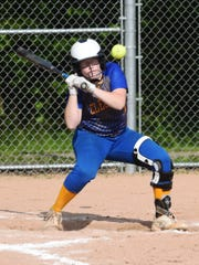 Philo's Darian Tupuola is hit by a pitch during the Electrics' 15-2 win against Steubenville in a Division II district final in Old Washington.