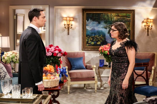 Amy  (Mayim Bialik), right, lays down the law to her selfish husband, Sheldon (Jim Parsons), before they accept their Nobel Prize.