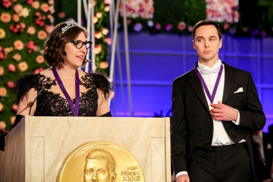 Amy (Mayim Bialik), left, and Sheldon (Jim Parsons) accept the Nobel Prize for Physics in 'The Big Bang Theory' series finale.