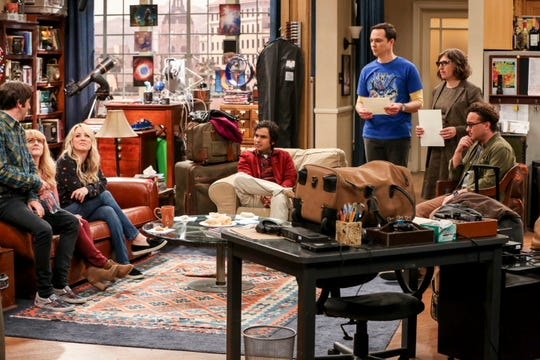 'The Big Bang Theory' series finale featured some tense moments between a close group of friends: Howard (Simon Helberg), left, Bernadette (Melissa Rauch), Penny (Kaley Cuoco), Raj (Kunal Nayyar), Sheldon (Jim Parsons), Amy (Mayim Bialik) and Leonard (Johnny Galecki)