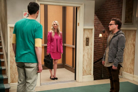 Surprise! After 12 seasons, the apartment elevator is finally working. As Sheldon (Jim Parsons), left, and Leonard (Johnny Galecki), right, were arguing, the door opened and there was Penny (Kaley Cuoco), center.