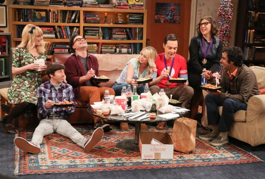 'The Big Bang Theory' closed in a comforting place, with friends Bernadette (Melissa Rauch), Howard (Simon Helberg), Leonard (Johnny Galecki), Penny (Kaley Cuoco), Sheldon (Jim Parsons), Amy (Mayim Bialik) and Raj (Kunal Nayyar) enjoying dinner together.