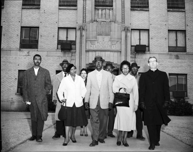 Civil rights leaders are seen in this undated photo taken after being locked up at the Oklahoma City Jail for protesting segregation. [OKLAHOMAN ARCHIVES]