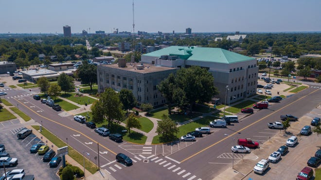 Aerial image of the Cleveland County Courthouse. [Dave Morrris/The Oklahoman]