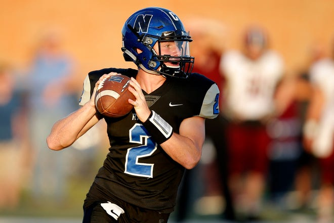 Newcastle's Andrew Shumard drops back to pass during a game against Blanchard in Newcastle on Sept. 19, 2019. [Bryan Terry/The Oklahoman]