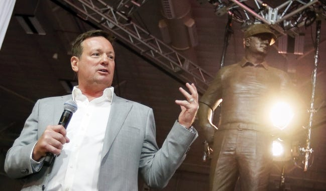 Former OU football coach Bob Stoops speaks after his statue is unveiled during Salute to Stoops at the Bennett Event Center at State Fair Park in Oklahoma City, Friday, April 13, 2018. Photo by Nate Billings, The Oklahoman
