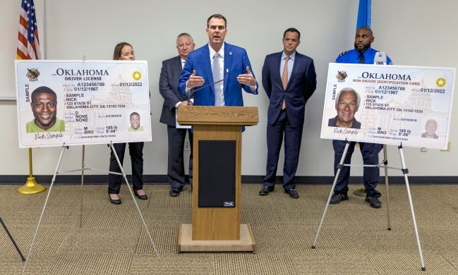 Gov. Kevin Stitt speaks about Oklahoma's REAL ID in a 2019 press conference. Users of Oklahoma's mobile ID app can now upload the necessary documents to their app before applying for a REAL ID. [CHRIS LANDSBERGER/THE OKLAHOMAN]