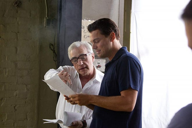 """Leonardo DiCaprio, right, and Martin Scorsese work together on 2013's """"The Wolf of Wall Street."""" The Oscar winners are officially reteaming to adapt the Oklahoma-based true-crime thriller """"Killers of the Flower Moon: The Osage Murders and the Birth of the FBI."""" [Paramount Pictures photo]"""