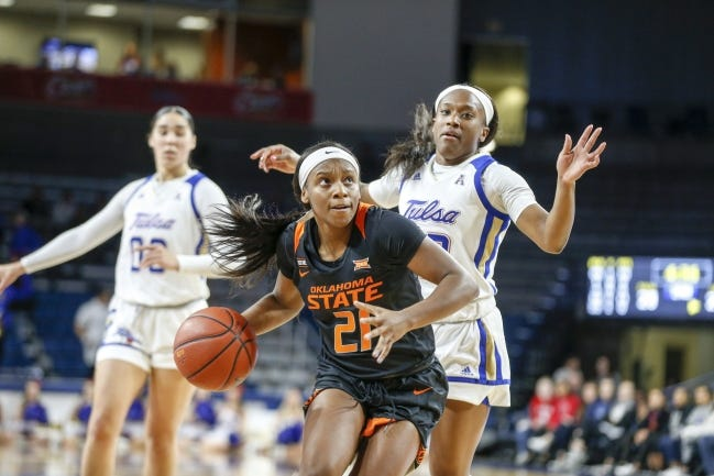 Oklahoma State guard Ja'Mee Asberry (21) is coming off a 28-point performance against Texas Tech. [IAN MAULE/TULSA WORLD]