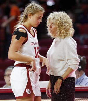 OU head coach Sherri Coale talks to Gabby Gregory (12) during a game last season. [Nate Billings/The Oklahoman]