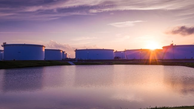 Tanks hold oil at the Cushing terminal in Oklahoma. [THE OKLAHOMAN ARCHIVES]