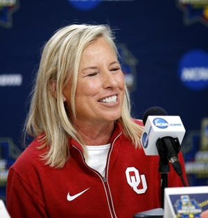 Oklahoma softball coach Patty Gasso watched her No. 1-ranked team post an 11-0 run-rule win Sunday over Missouri. [Sarah Phipps/The Oklahoman]