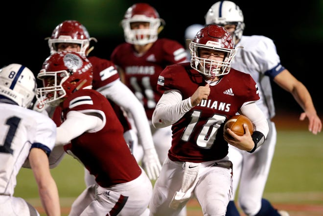 Shattuck's John Bay carries the ball during the Class B state championship football game between Shattuck and Tulsa Regent Prep at Western Heights High School in Oklahoma City, Friday, Dec. 13, 2019. [Bryan Terry/The Oklahoman]