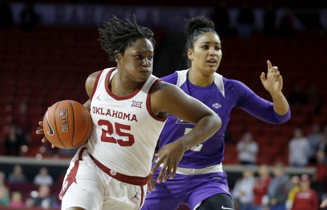 Madi Williams (25) and the Sooners haven't played since their Nov. 25 opener after COVID-19 issues forced the cancellation of the Sooners' trip to South Dakota. [Bryan Terry/The Oklahoman]