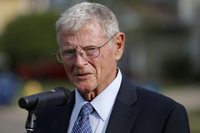 U.S Sen. Jim Inhofe speaks during a press conference discussing the housing problems at Tinker Air Force Base, Tuesday, Oct. 1, 2019. [Bryan Terry/The Oklahoman]