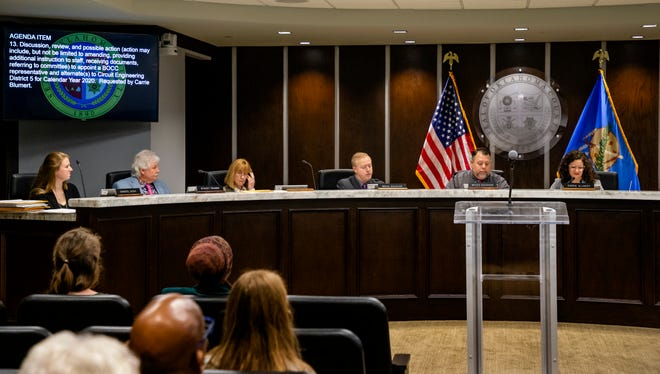Oklahoma County Commissioners take part in a meeting in the Board of County Commissioners meeting room in Oklahoma City, Okla Wednesday, Jan. 15, 2020.  [Chris Landsberger/The Oklahoman]