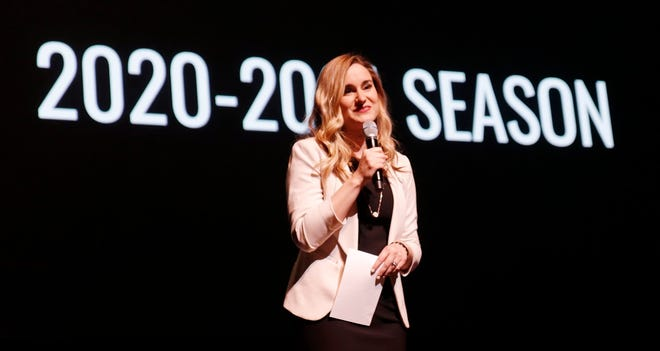 Elizabeth Gray, general manager of OKC Broadway and executive director of the Civic Center Foundation, appears on stage at the Civic Center's Thelma Gaylord Performing Arts Theatre as OKC Broadway unveils its 2020-2021 season Monday, January 27, 2019. Due to the COVID-19 pandemic, OKC Broadway has been unable to bring Broadway touring shows to Oklahoma City since last March. [Photo by Doug Hoke/The Oklahoman Archives]