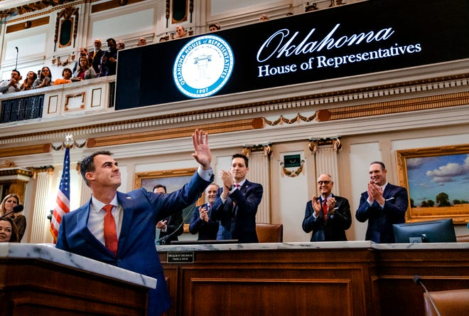 Gov. Kevin Stitt waves to the gallery as he begins his State of the State Address in the House Chambers of the Oklahoma House of Representative in Oklahoma City, Okla. on Monday, Feb. 3, 2020. [Chris Landsberger/The Oklahoman]
