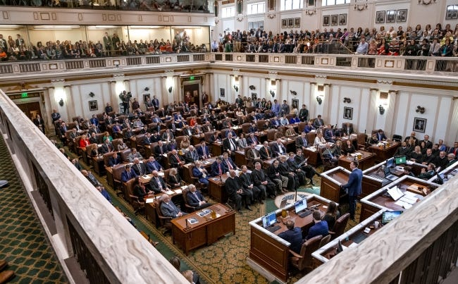 Annual pay for Oklahoma's lawmakers will go up 35% this week, for the first increase in more than two decades. Here, legislators gather in the House of Representatives on Feb. 3 as Gov. Kevin Stitt delivers his State of the State Address. [Chris Landsberger/The Oklahoman]