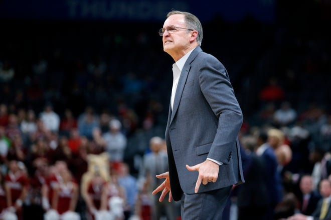 Oklahoma coach Lon Kruger shouts during a men's NCAA college basketball game between the University of Oklahoma Sooners (OU) and the Texas Tech Red Raiders at Chesapeake Energy Arena in Oklahoma City, Tuesday, Feb. 25, 2020. Oklahoma won 65-51. [Bryan Terry/The Oklahoman]