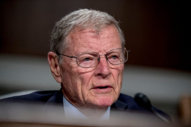 FILE - This April 11, 2019 file photo shows Chairman Jim Inhofe, R-Okla., during a Senate Armed Services Committee hearing on Capitol Hill in Washington. Inhofe, a fixture in Oklahoma politics for more than 50 years, announced Thursday, March 5, 2020, that he intends to seek another six-year term in office. (AP Photo/Andrew Harnik)