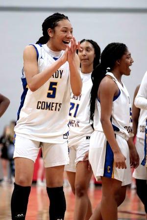 Lady Comet Darianna Littlepage-Buggs celebrates as Classen SAS defeats Newcastle 53-34 in the Area 3 Class A girls basketball tournament on March 6, 2020 in Washington, Okla. [Steve Sisney/For The Oklahoman]