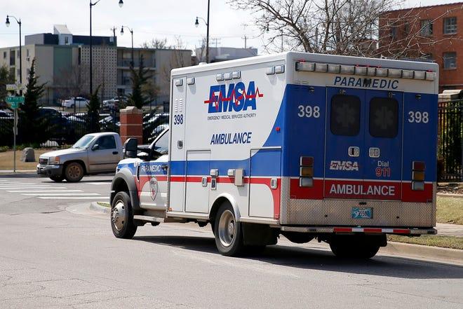 An EMSA ambulance in Oklahoma City, Wednesday, March 18, 2020. [Bryan Terry/The Oklahoman]