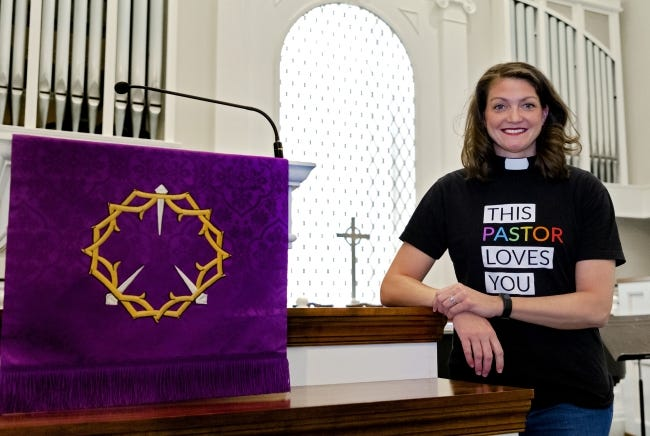 Rev. Lori Walke, new senior pastor of Mayflower Congregational Church UCC, poses for a photo at the Oklahoma City church. [Chris Landsberger/The Oklahoman]