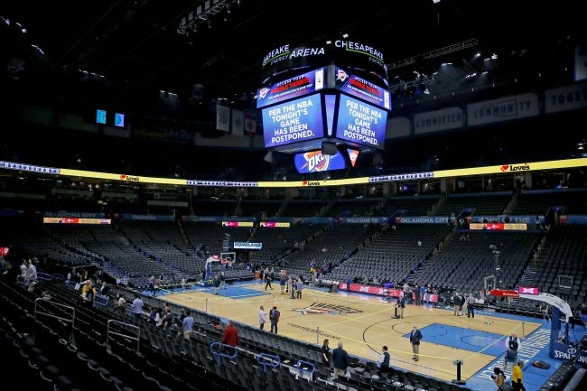 Thunder fans leave Chesapeake Energy Arena after Oklahoma City's game against Utah was postponed on March 11, a move prompted by Jazz center Rudy Gobert's positive test for the coronavirus. The first regular-season NBA game since will be Monday between the Thunder and Jazz. [BRYAN TERRY/THE OKLAHOMAN]