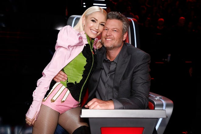 "Gwen Stefani and Blake Shelton appear on ""The Voice."" [Photo by Trae Patton/NBC]"