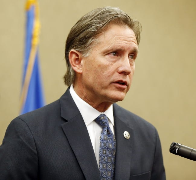 Oklahoma Attorney General Mike Hunter speaks during a Feb. 13 press conference. [The Oklahoman Archives]