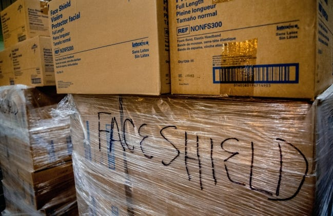 In this April 2020 photo, boxes of personal protection equipment (PPE) and medical supplies are shown in an Oklahoma City warehouse where the State of Oklahoma amassed a stockpile for its COVID-19 response.  [Chris Landsberger/The Oklahoman]
