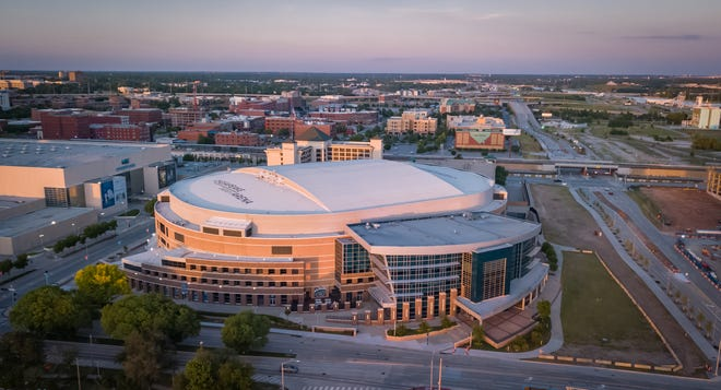 Drone image of Chesapeake Energy Arena. Image by Dave Morris.