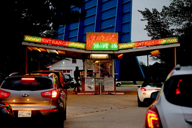 Cars wait to enter the Winchester Drive-In movie theater in Oklahoma City, Friday, May 15, 2020. [Bryan Terry/The Oklahoman Archives]