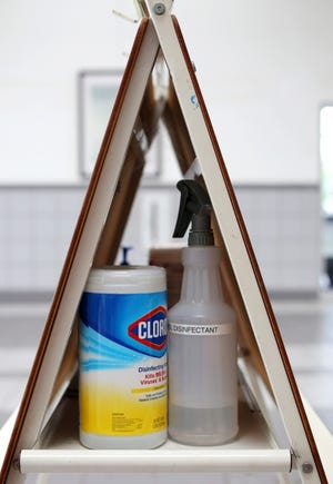 The Centers for Disease Control and Prevention says that for disinfecting surfaces, diluted household bleach solutions, alcohol solutions with at least 70% alcohol, and most common EPA-registered household disinfectants should be effective. [DOUG HOKE/THE OKLAHOMAN]