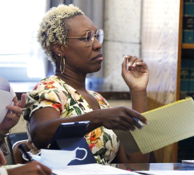 Kendra Coleman participates in a June preliminary hearing in her tax evasion case. [Doug Hoke/The Oklahoman]