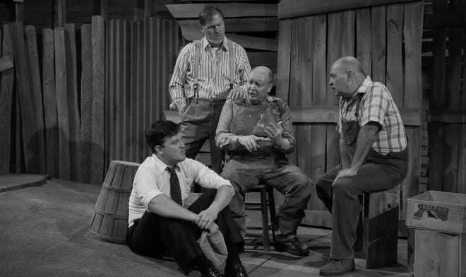 """Clockwise from top, Sonny Franks, David Coffee, Michael Corolla and Cameron Cobb appear in Oklahoma City University and Oklahoma City Repertory Theatre's 2014 production of """"The Grapes of Wrath."""" [Photo provided]"""