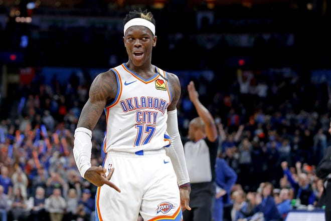 Oklahoma City's Dennis Schroder (17) gestures after making a basket during an NBA basketball game between the Oklahoma City Thunder and the Cleveland Cavaliers at Chesapeake Energy Arena in Oklahoma City, Wednesday, Feb. 5, 2020. Oklahoma City won 109-103. [Bryan Terry/The Oklahoman]