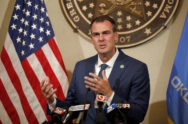 Gov. Kevin Stitt speaks during a press conference at the State capitol in Oklahoma City, Thursday, July 30, 2020. Photo by Sarah Phipps, The Oklahoman