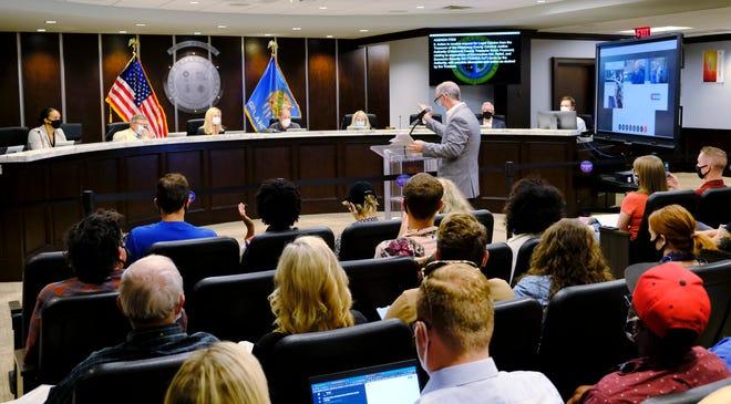Sean Cummings addesses the Oklahoma County Jail Trust meeting Monday, August 24, 2020. [Doug Hoke/The Oklahoman]