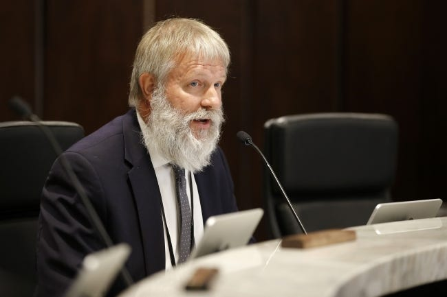 Commissioner Kevin Calvey speaks during an Oklahoma County commissioners meeting in Oklahoma City, Friday, Aug. 14, 2020. [Bryan Terry/The Oklahoman]