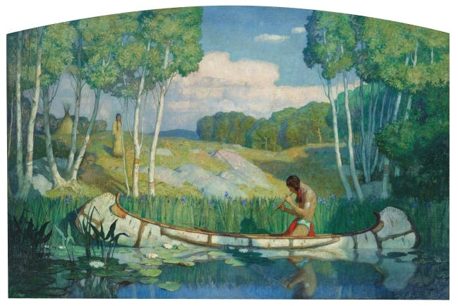 """Officials estimated that """"Indian Love Call,"""" a work collected by Pickens that was painted by N.C. Wyeth, was worth between $2 million and $3 million. It earned a record-setting price during the auction of $3.51 million. [PROVIDED/CHRISTIE'S IMAGES LTD. 2020]"""